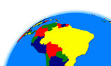 south America on globe political map