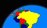 south America on planet Earth political map