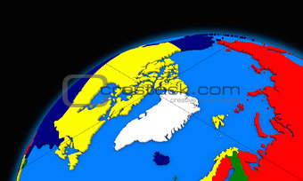 Arctic north polar region on planet Earth political map