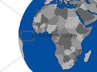 African continent on political globe