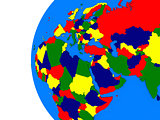 EMEA region on political globe