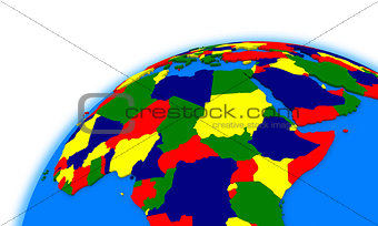 central Africa on globe political map