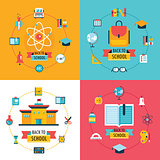 Welcome back to school Education banner set Flat Design