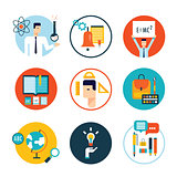Education icon set Welcome back to school Flat design