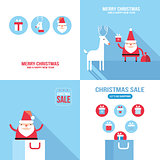 Christmas New Year banner set Santa Claus shopping seasonal sale