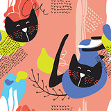 Hand drawn abstract seamless background pattern with cute cats