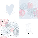 Hand drawn seamless background pattern set Abstract card design template