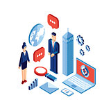 Businessman and woman Successful business concept isometric design