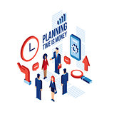 Isometric people Successful business Planning communication technology concept