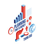 Isometric Raising graph Infographic elements set Business Planning concept