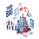 Isometric city business people and icons Technology Success Communication concept