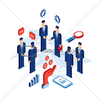 Group of businessman people Close deal Successful partnership communication concept