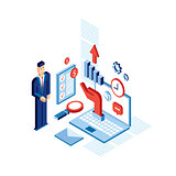 Isometric Businessman  Successful business communication technology concept