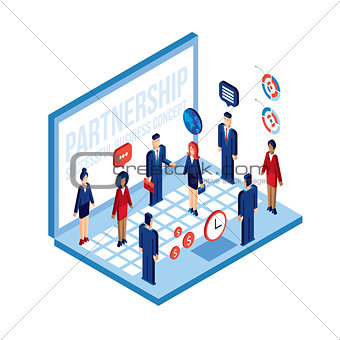 Business people and laptop Technology Social network Partnership Communication concept