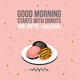 Delicious donuts on plate background Modern flat isometric design style