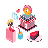 Donut shop Cake dessert Delicious food isometric infographic element set