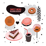Delicious dessert design elements set Donut Cake Coffee cup Lollipop