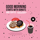 Perfect breakfast Donuts Coffee background Modern flat isometric design style