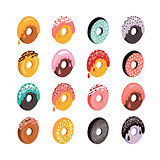 Delicious donut icon set Sweet dessert flat isometric 3d design