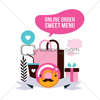 Food delivery set Sweet dessert shopping Delicious Donut Coffee
