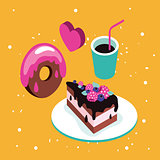 Sweet menu Delicious dessert cake chocolate donut coffee set background