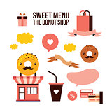 Sweet menu Delicious dessert Donut shop Food design element set