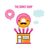 Cute donut shop facade Food Delicious dessert modern flat design