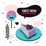 Sweet menu Delicious dessert blackberry cake lollipop set background