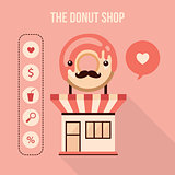 Donut shop design element set Food delicious dessert web icons