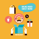 Food delivery design element set Delicious dessert Donut Coffee icons