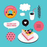 Sweet menu Food Delicious dessert Berry cheesecake donut coffee set