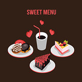 Delicious dessert poster Donut Cake Coffee background Food  isometric style