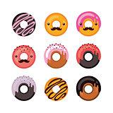 Delicious donut icon set Sweet dessert Modern hipster flat design