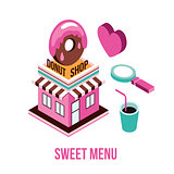 Donut shop Coffee love Food isometric infographic element set