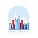 Cityscape background City building silhouettes Modern flat design style