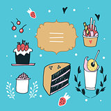 Hand drawn design element set delicious food desserts Lovely label