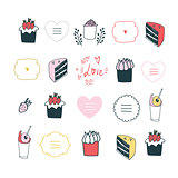 Hand drawn design element set delicious food Lovely labels lettering