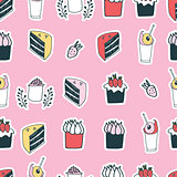 Cute food cake muffin cupcake strawberry delicious dessert seamless pattern