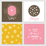 Cute cards with love lettering seamless background pattern Valentines Day