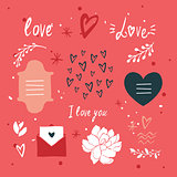 St Valentines Day lettering and cute design elements collection