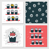 Cute cards Delicious food dessert Cupcake Birthday cake Seamless background