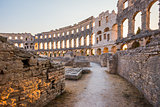 Inside of Ancient Roman Amphitheater in Pula, Croatia