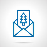 Pine postcard simple line vector icon