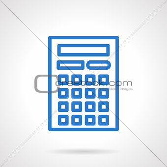 Calculator vector icon blue simple line style