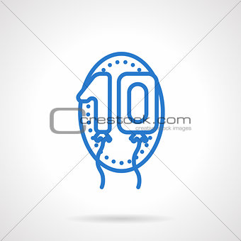 Anniversary balloons vector icon blue line style