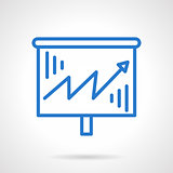 Growth chart vector icon blue simple line style