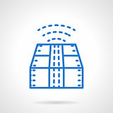 Blue line style package tracking vector icon