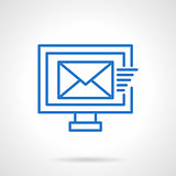 Mailing sign blue line vector icon
