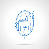 Blue flat line unicorn balloon vector icon