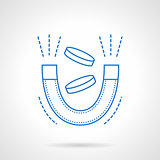 Magnet with coins blue flat line vector icon